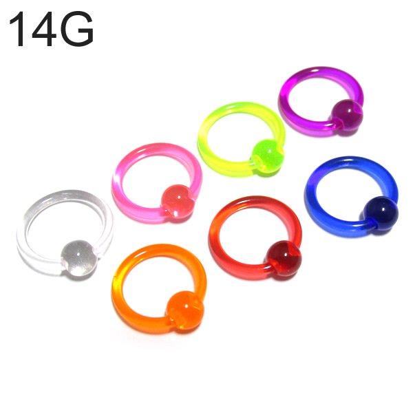 UVアクリル カラービーズリング 【14G(1.6mm)/内径10mm】
