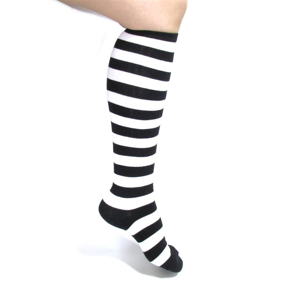 ブラック×ホワイトカラー セミロングボーダーソックス 【1足売り】