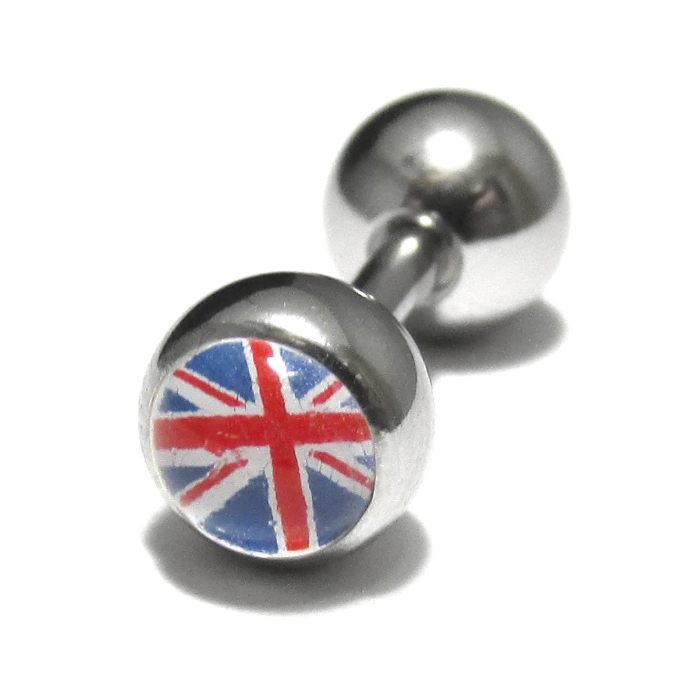 ボディピアス フラッグピクチャーボールストレートバーベル【14G(1.6mm)ユニオンジャック】BP-BC74-UK