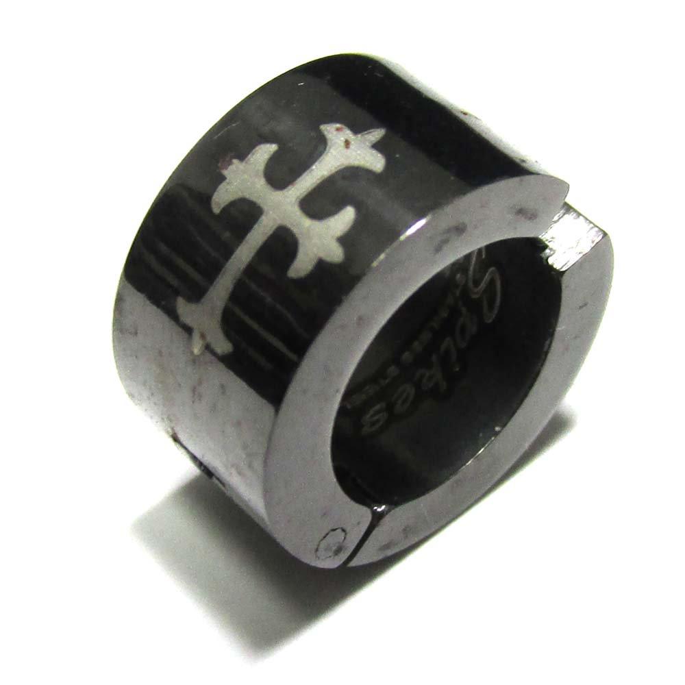 ブラック&ゴールドワイドゴシッククロス 316Lサージカルステンレス製 開閉式 イヤーカフ 【穴あけ不要】