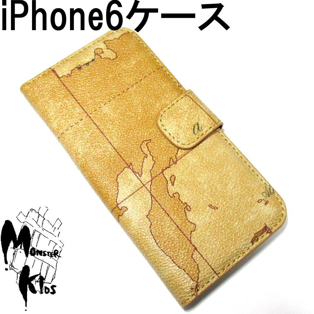 ワールドマップ(世界地図)デザイン フェイクレザースマートフォンケース i phone 6用 【1ヶ売り】