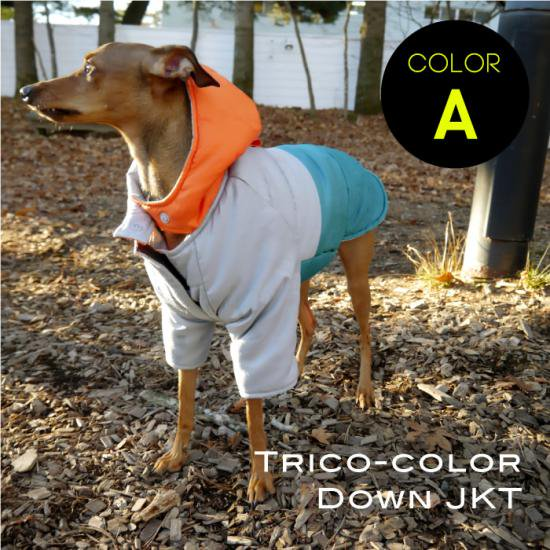 ダウンジャケット トリコカラーA オレンジ×グレー×水色/イタリアングレイハウンド 犬服  ダウンコート
