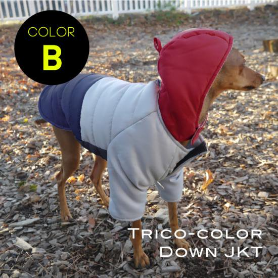 ダウンジャケット トリコカラーB レッド×グレー×ネイビー/イタリアングレイハウンド 犬服  コート