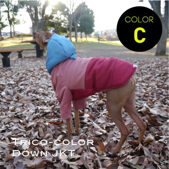 ダウンジャケット トリコカラーC 水色×ピンク×レッド/イタリアングレイハウンド 犬服  ダウンコート