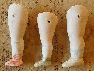 ビスクドールの足(3個セット)b/ドイツ製1900年代初頭
