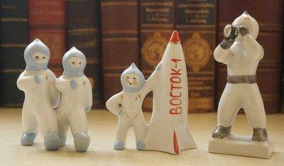 ソビエト宇宙開発/磁器の置物3点セット