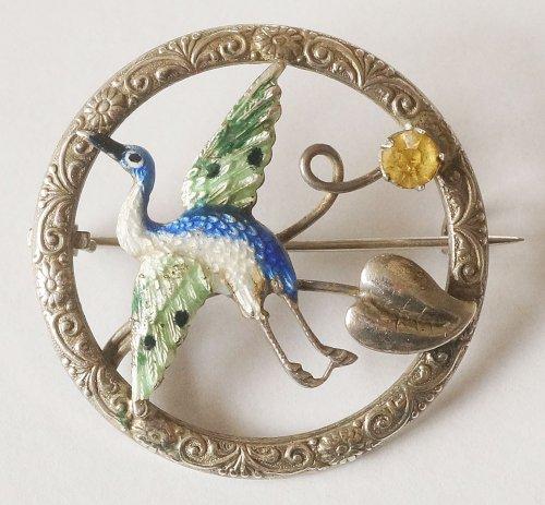 鳥のシルバーブローチ・イギリス製