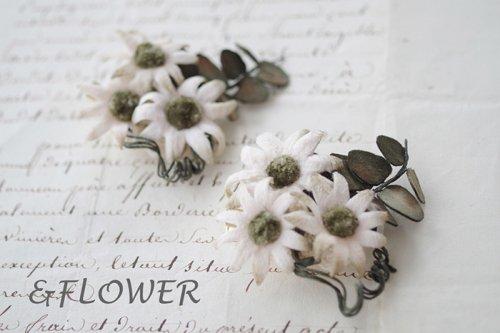 「フランネルフラワーとユーカリのブローチ」&FLOWER
