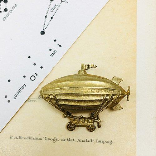 飛行船ピンブローチ(真鍮)