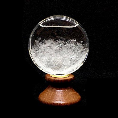 ストームグラス(木製台座付 茶・円)