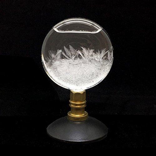 ストームグラス(木製台座付 黒・円)