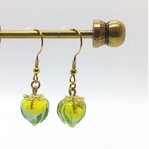 鬼灯の耳飾り/ 水色×黄
