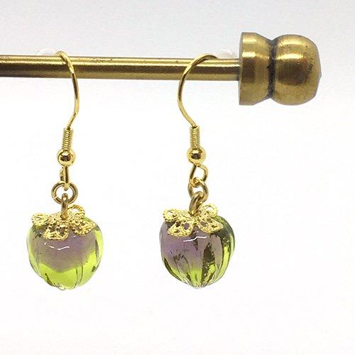 鬼灯の耳飾り/ 緑×紫