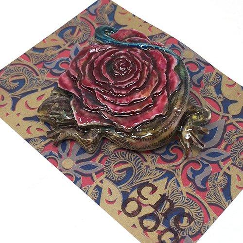 薔薇と蜥蜴 ブローチ