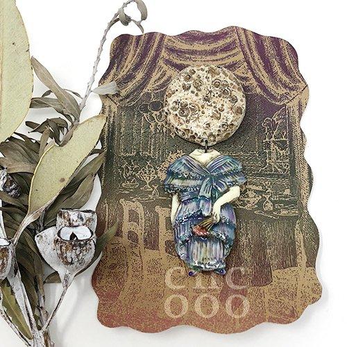 collage dollsブローチ(月×婦人)