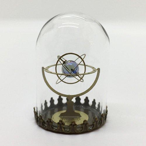 天球儀/アクアオーラブルー・水晶(ガラスドームオブジェ)/ものづくりの部屋