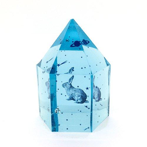水晶型樹脂オブジェ「星屑曹達 兎」/スパン社