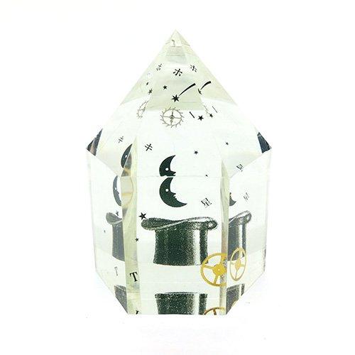 水晶型樹脂オブジェ「月とホーキ星」/スパン社