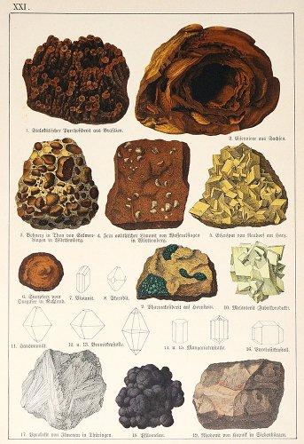 鉱物の図版/ドイツ・1878年頃