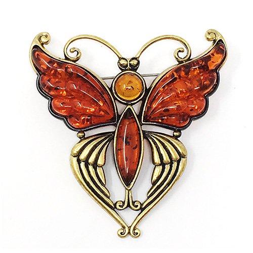 琥珀の蝶ブローチ