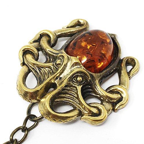 琥珀の蛸のキーホルダー