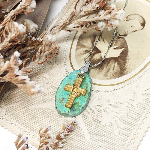 ローマングラス(銀化古代ガラス)のネックレス/雨花