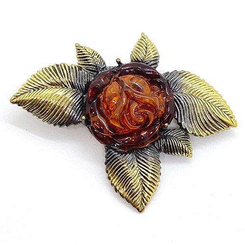 琥珀の薔薇ブローチ