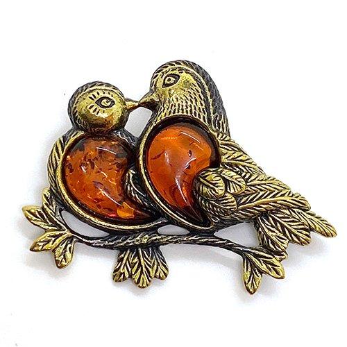 琥珀の2羽の鳩ブローチ