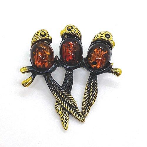 琥珀の3羽のオウムブローチ