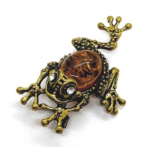 琥珀の蛙ブローチ