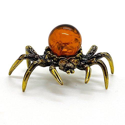 琥珀のオブジェ/蜘蛛Cミニサイズ