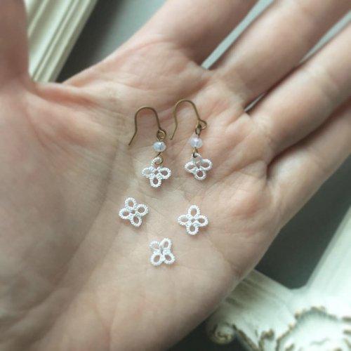 ライラックのモチーフ・耳飾り /Mabel-tatting lace jewelry-(3/6まで期間限定販売)