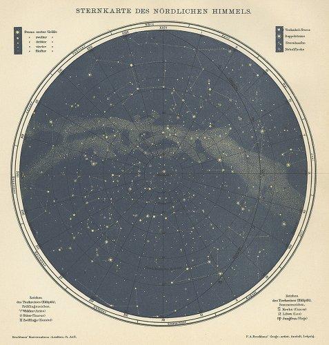 天文図版「北天の星図」(ドイツ1890年頃)