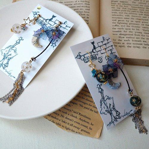 空想刺繍店/「月と紫陽花」(ピアス・イヤリング)