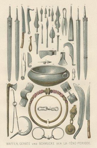 ラ・テーヌ文化の武器と宝石の図版(ドイツ1895年頃)