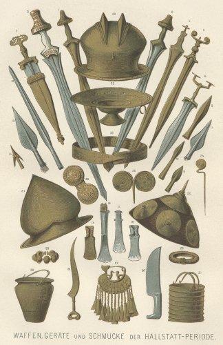 ハルシュタット文化の武器と宝石の図版(ドイツ1895年頃)