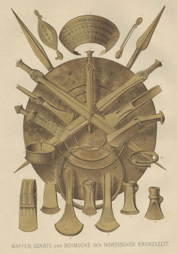 北欧の青銅器時代の武器と宝石の図版(ドイツ1895年頃)