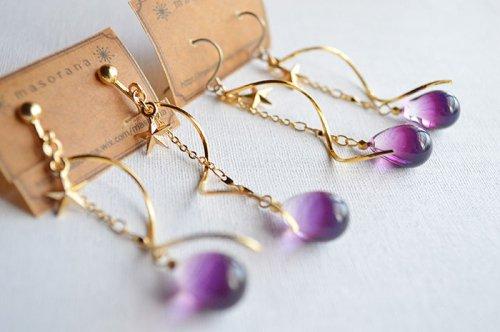 真夜中の雫の耳飾り 紫/*masorana*