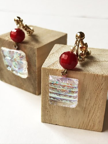 micat glass/フュージングガラスのイヤリング