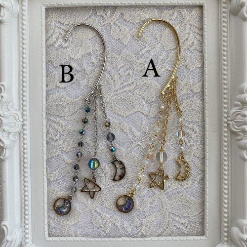 Beads no moto/三日月と星のイヤーフック