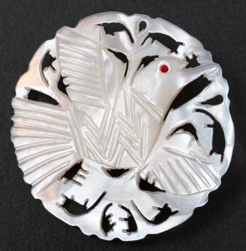 ベツレヘム マザーオブパールのブローチ/鳥