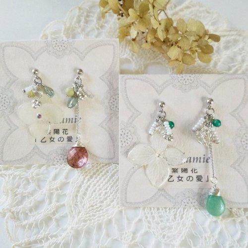 紫陽花のアシンメトリーピアス/mo.kamie