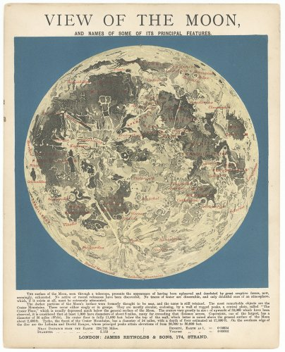 天文図版「VIEW OF THE MOON」/「ASTRONOMICAL DIAGRAMS」(イギリス 1868年頃)