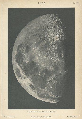天文図版「LUNA」(イタリア1904年頃)