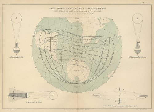 天文図版「ECLISSE ANNULARE E TOTALE DEL SOLE DEL 22-23 DICEMRE 1908」(イタリア1904年頃)