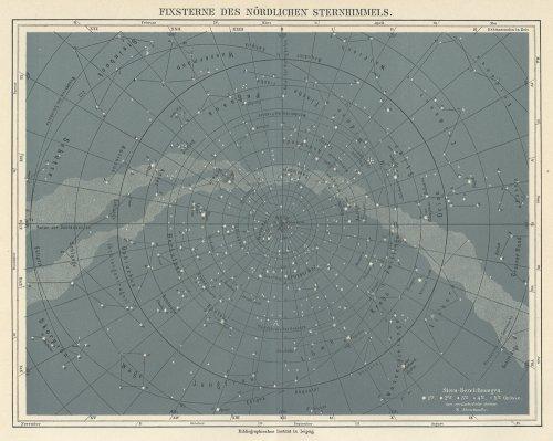 天文図版「FIXSTERNE DES NÖRDLICHEN STERNHIMMELS.」(ドイツ1890年頃)