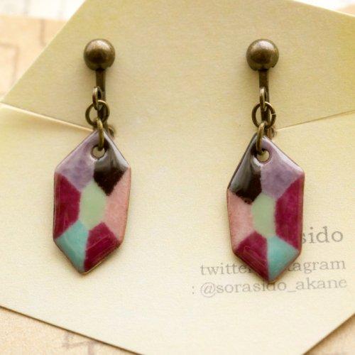 六角形ダイヤイヤリング/sorasido