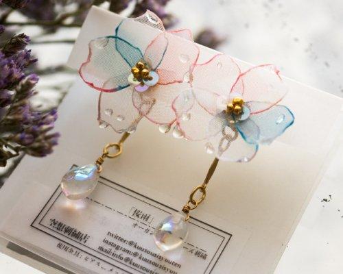 桜雨(ピアス)/空想刺繍店