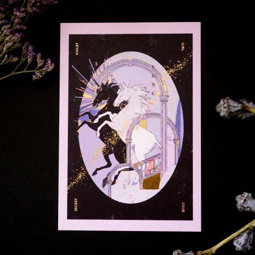 箔押しポストカード「ユニコーンの集い」/ruff
