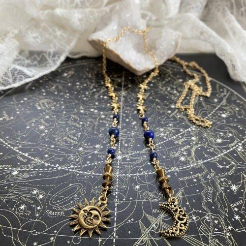 太陽と月のラリエット/Beads no moto
